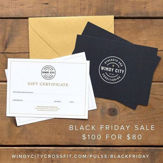 BLACK FRIDAY SALE Get $100 gift certificate for $80 It's that time of year to send your family gift ideas (or treat yourself!). Well, here's an idea—if you buy a $80 gift certificate through Friday Nov. 24, we'll throw in an extra $20 from us. That's $100 total! We accept purchases over the phone and we'll even mail it to the gift giver. Contact us with any questions: admin@windycitycrossfit.com (773) 536-9223 https://windycitycrossfit.com/pulse/blackfriday (link in profile) • #livebig #windycitylivin