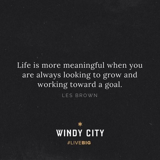 Truth. Life just feels better, feels richer when you have a goal that you're chasing...seeking to accomplish. • #windycitylivin #LiveBIG